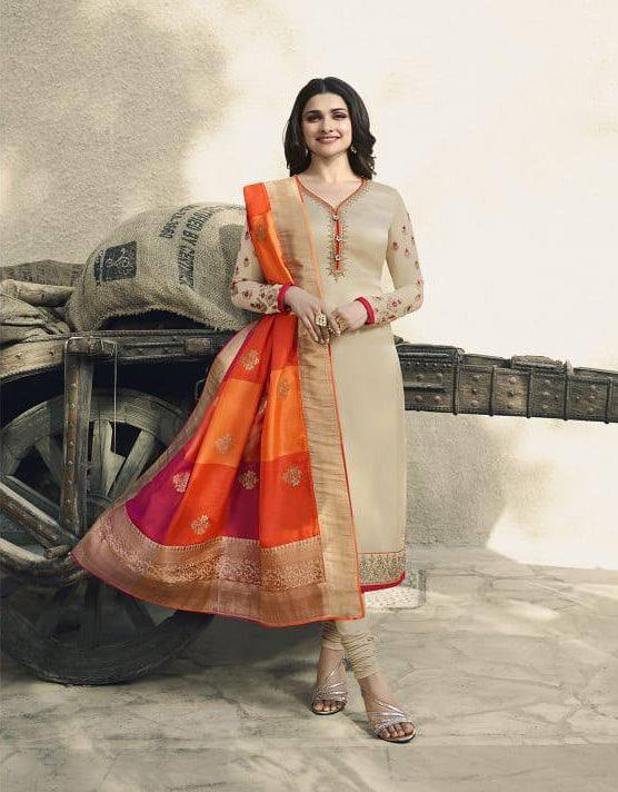 Cream Colour Make to Order Salwar Suit