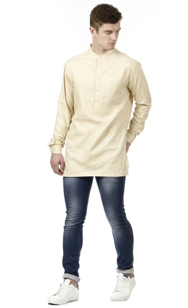 Cream Linen Short Kurta