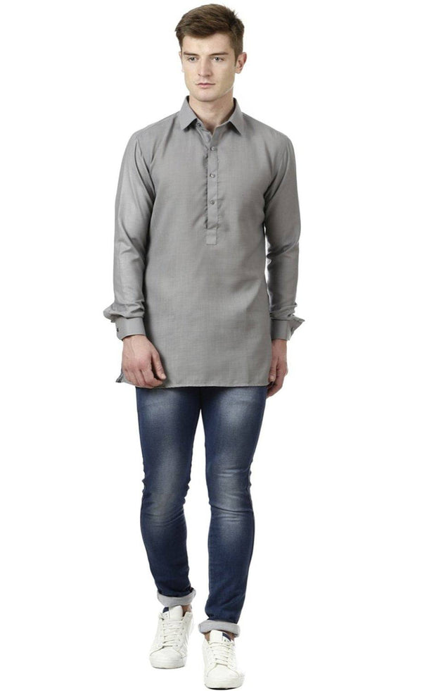 Grey Linen Short Kurta