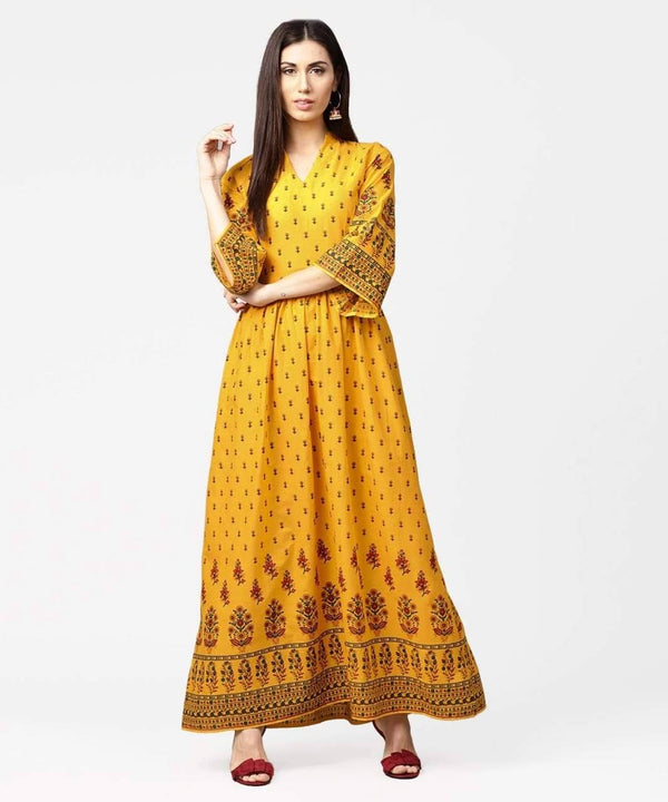 Entrancing  Golden Rod Yellow Colored Cotton Kurti