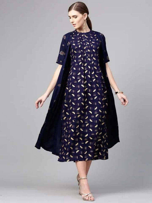 Lustrous Indigo Colored Rayon Kurti With Dupatta
