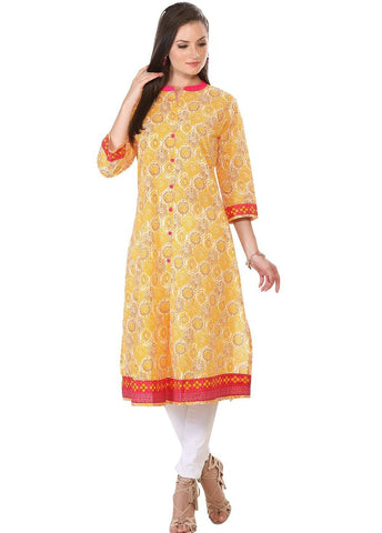 Yellow Cotton Long Kurta-www.riafashions.com