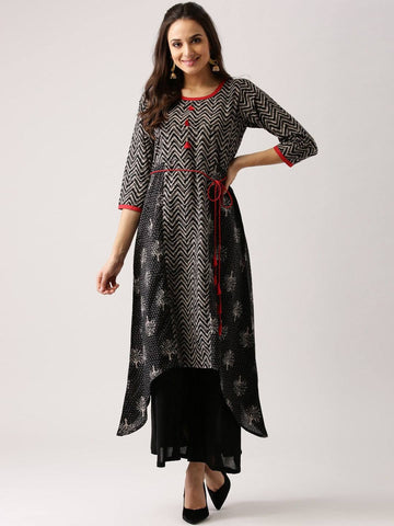 Black Printed Cotton Kurti-www.riafashions.com