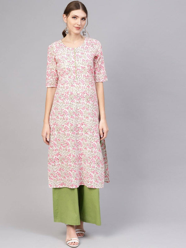 Pink & Green Printed Kurta With Palazzo