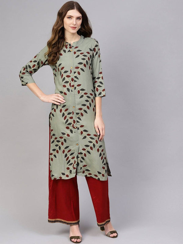 Grey & Red Printed Kurta