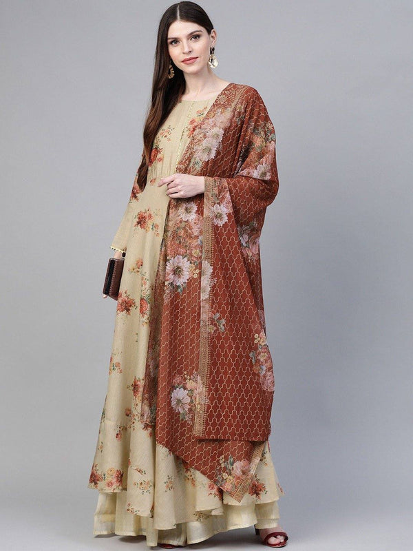 Beige & Red Floral Printed Anarkali Kurta with Dupatta