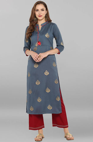 Grey Poly Silk Kurti/Tunic