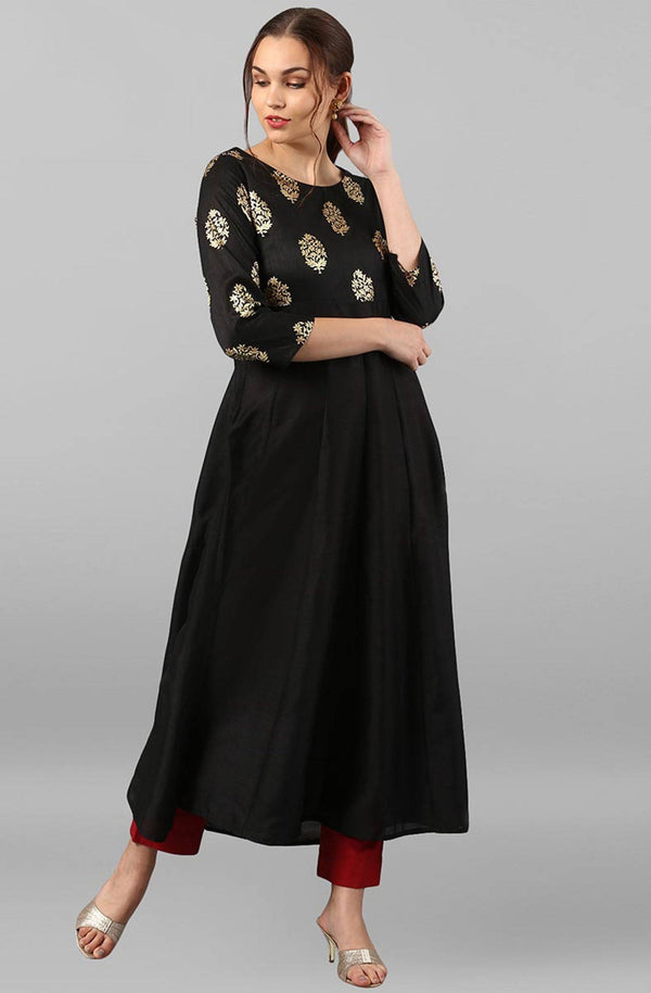 Ready Made Black Colour Make To Order  Annarkali Kurti/Tunic