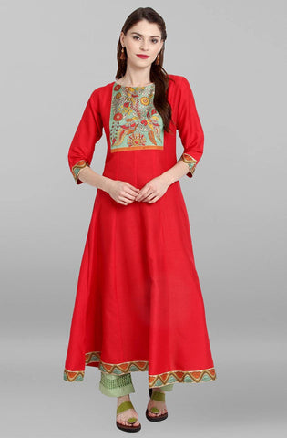 Red Colour Make To Order Kurti/Tunic
