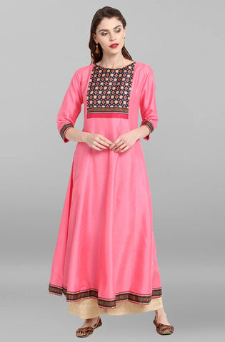 Pink Colour Make To Order Kurti/Tunic