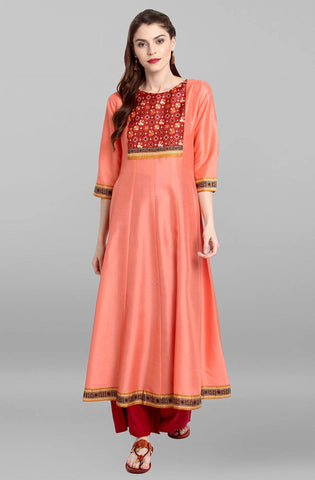 Peach Colour Make To Order Kurti/Tunic