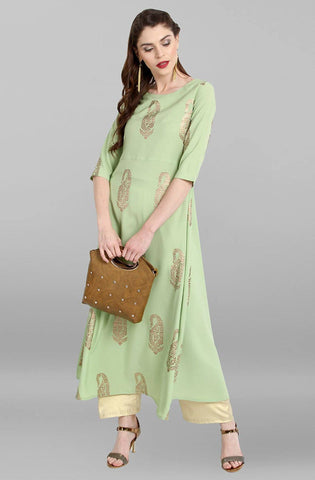 Light Green Colour Make To Order Kurti/Tunic