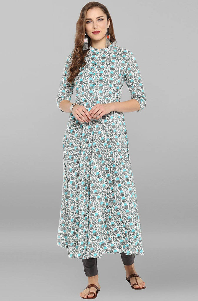 Grey & Blue Printed Kurti/Tunic