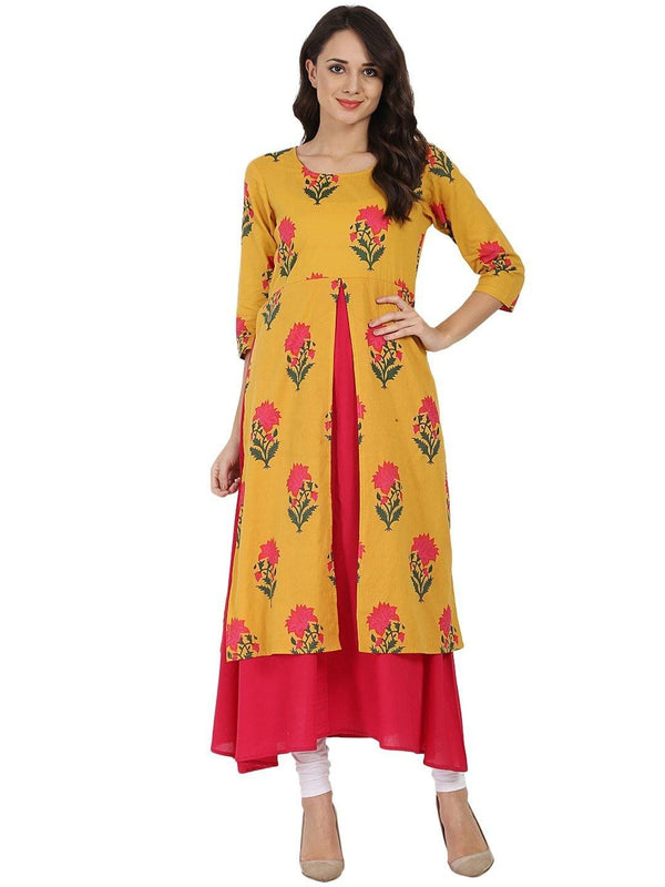 Mustard & Pink Printed Cotton Double Layer Kurta