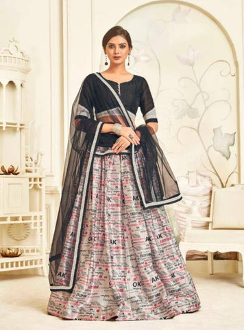 Impressive Black & White Colored Festive Wear Bangalore Silk Lehenga Choli