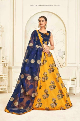 Radiant Yellow Colored Festive Wear Bangalore Silk Lehenga Choli