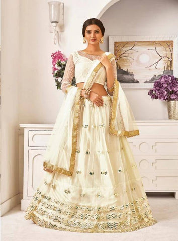 Heavenly Cream Colored Festive Wear Bangalore Silk Lehenga Choli With Golden Border