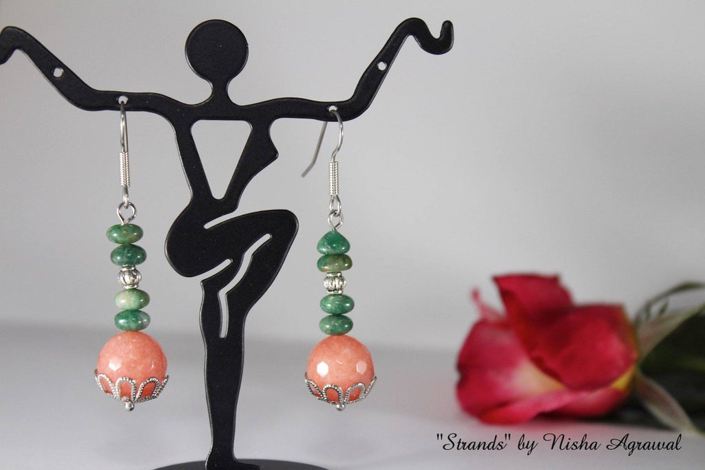 Peach & Green Earrings with Filigree Bead Caps