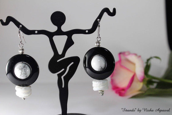 Round Black and White Earrings