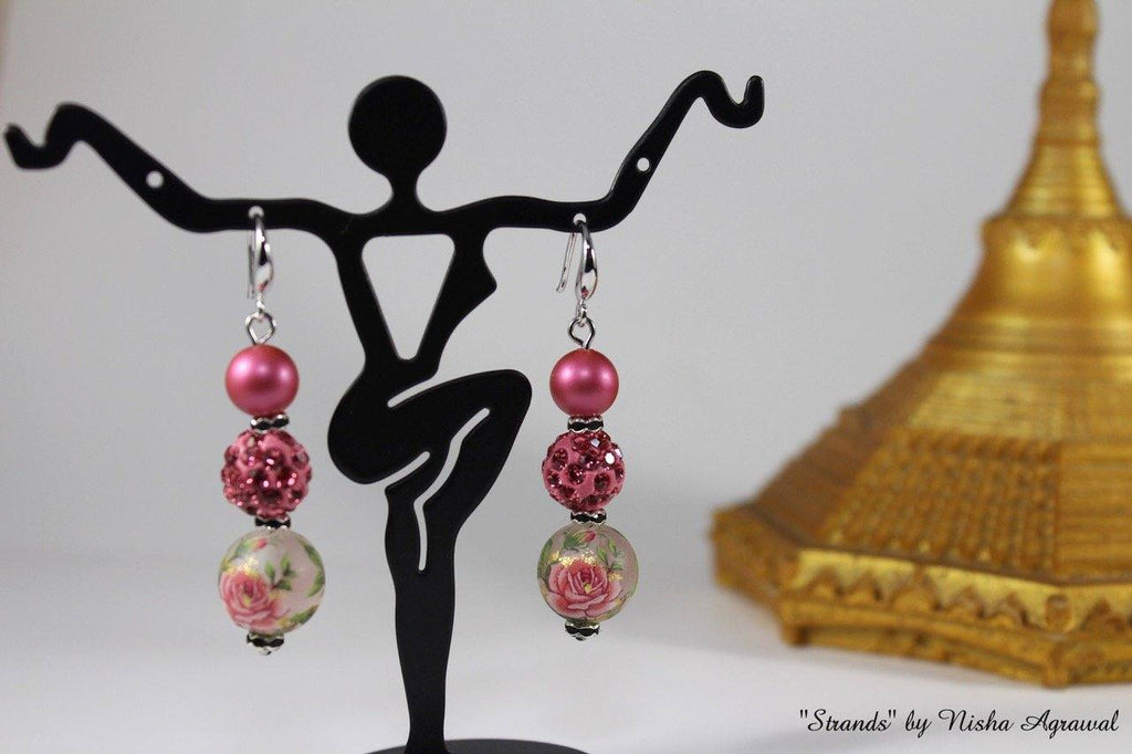 Pink Swarovski beads with rhinestone Earrings