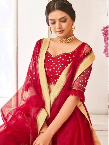 Ravishing Indian Red Colour Georgette Lehenga Choli With Heavy Embroidery And Net Dupatta