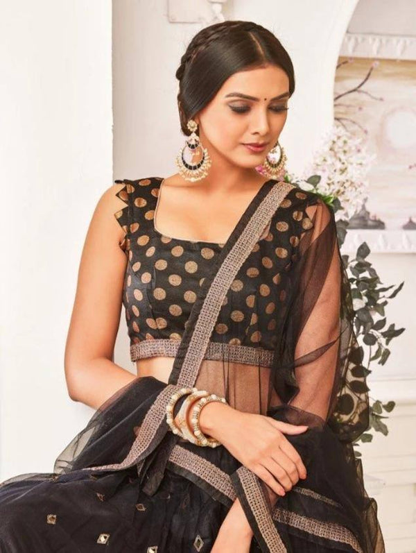 Breathtaking Black Colour Georgette Lehenga Choli With Heavy Embroidery And Net Dupatta