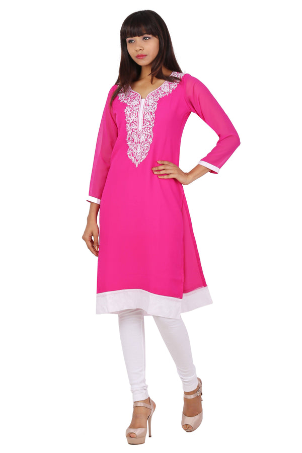 Ready Made Party Wear Pink Georgette Work Kurti