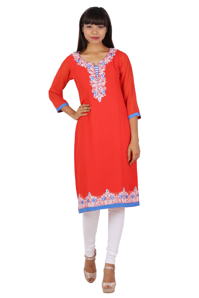 Ready Made Party Wear Red Georgette Work Kurti - www.riafashions.com