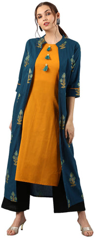 Adorning Orange - Blue Layered Cotton Party Wear Kurti