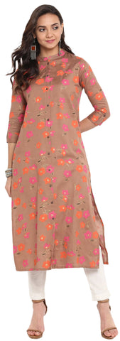 Adorable Rosybrown Colored Cotton Printed Partywear Kurti