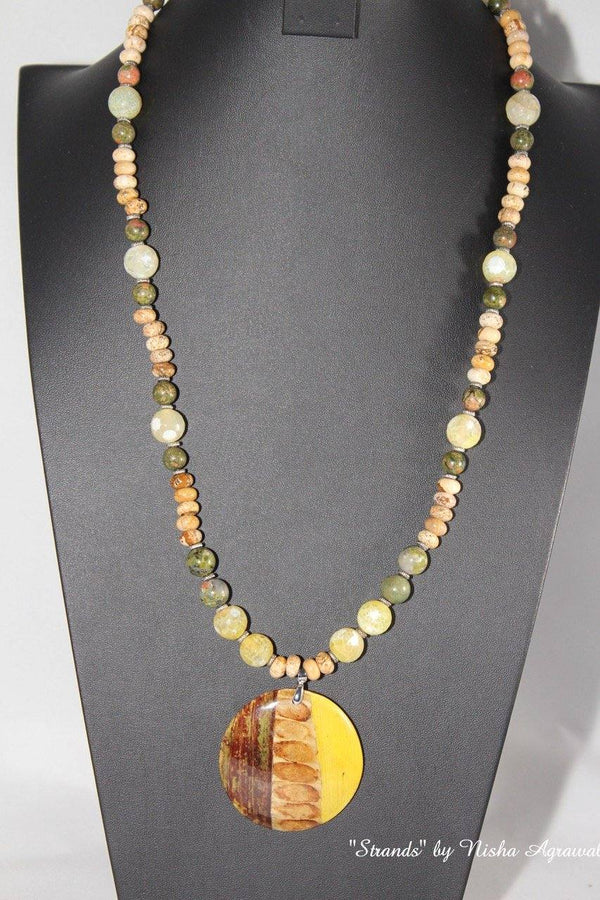 Wooden pendant with Yellow crackled effect Onyx and Green Unakites necklace