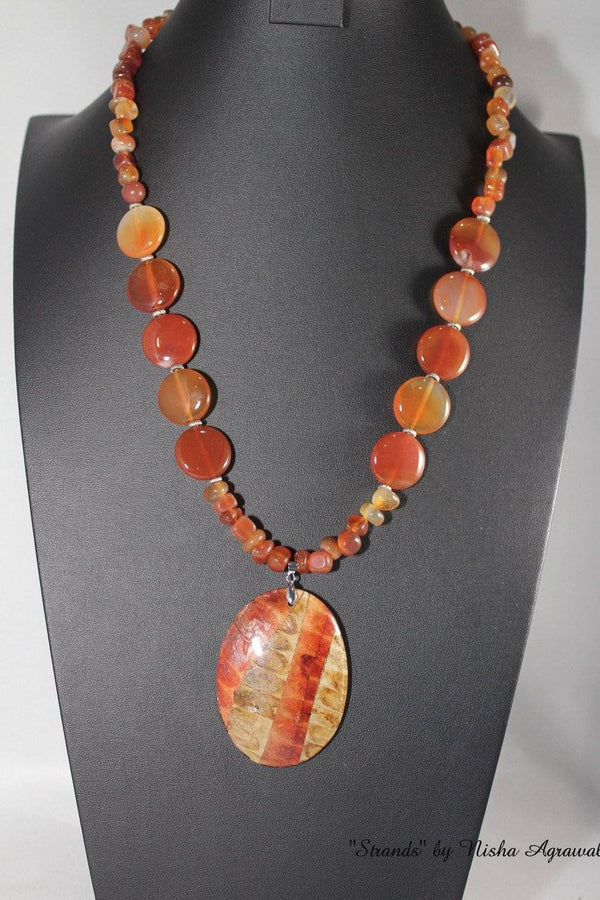 Wooden pendant with Brown agates