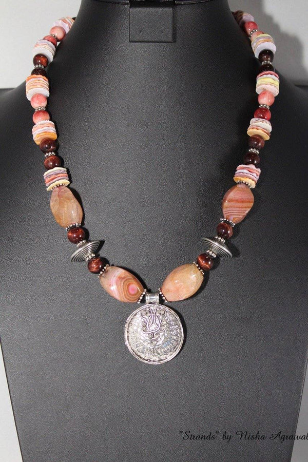 Pink Agate with red garnets necklace