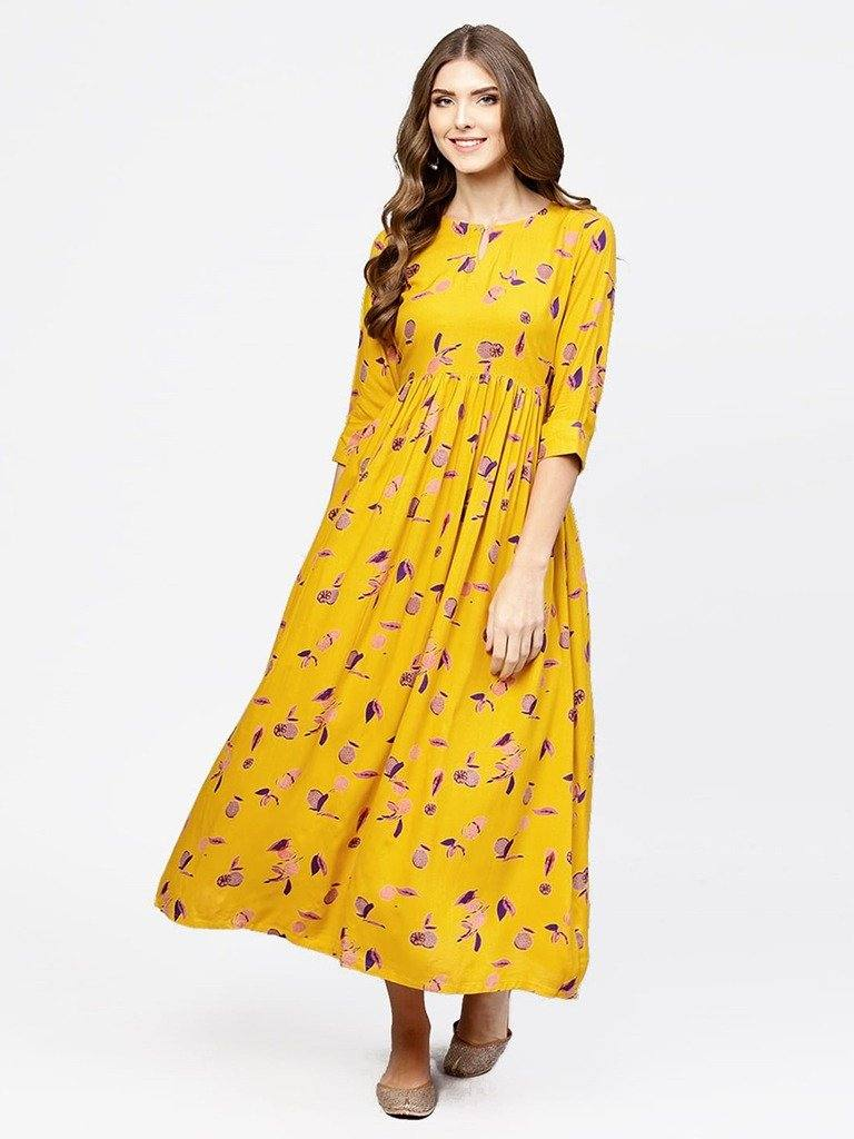 Readymade Ankle Length Yellow Colour Printed Cotton Knee Length Kurta With Flare