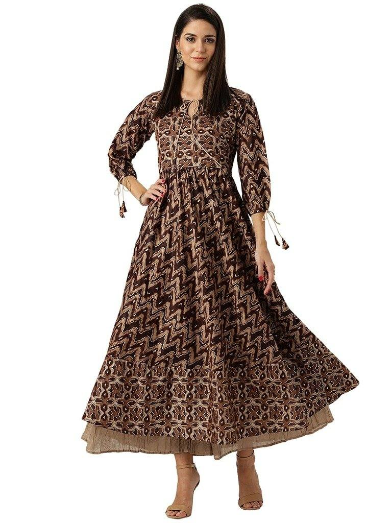 Readymade Ankle Length Brown Colour Printed Cotton Anarkali Kurta