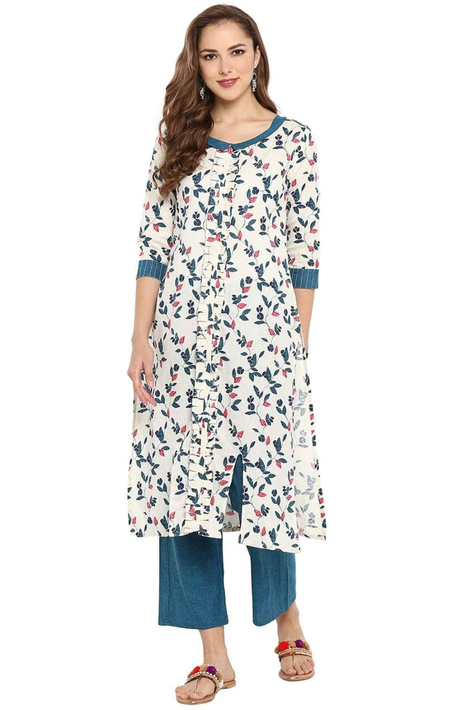 Off White Printed Linen Cotton Palazzo Kurti Set - www.riafashions.com