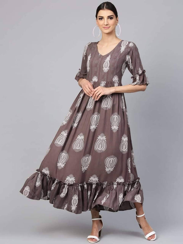 Grey Flared Printed Make To Order Cotton Kurta Dress