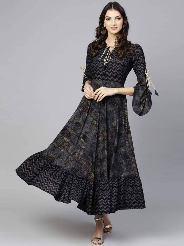 Black Printed Make To Order Flared Cotton Kurta Dress