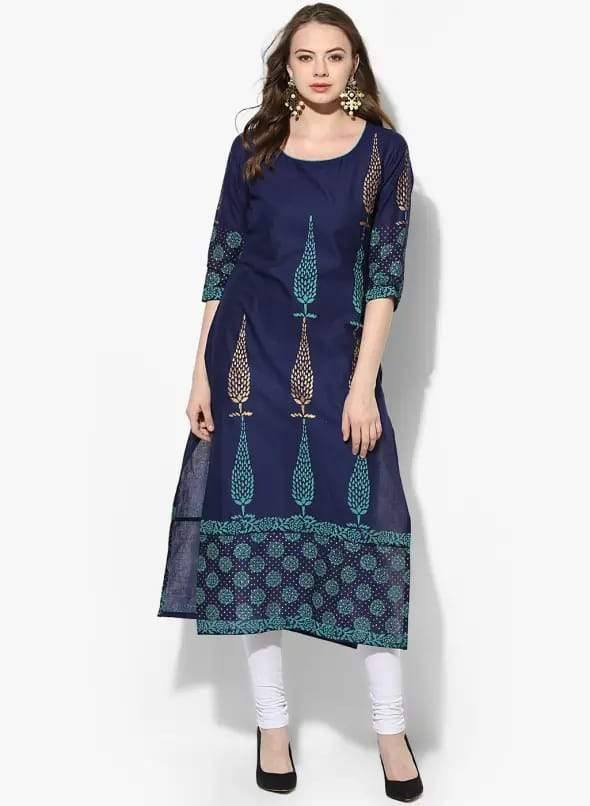 Dark Blue Cotton Straight Make To Order Kurta