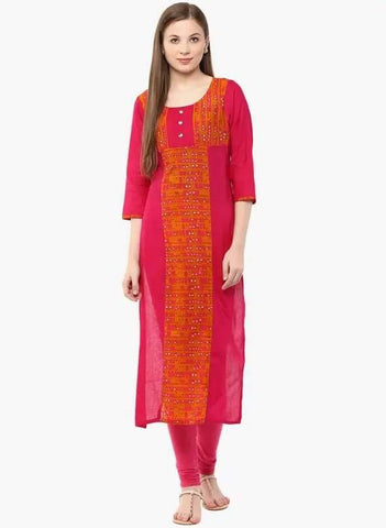 Pink Colour Cotton Straight Make To Order Kurta