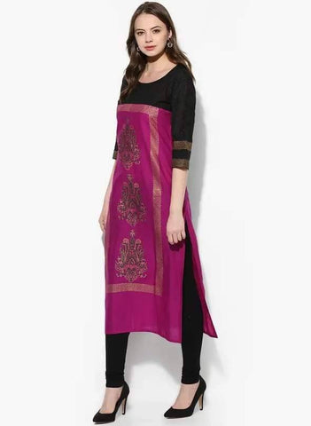 Purple Colour Cotton Straight Make To Order Kurta