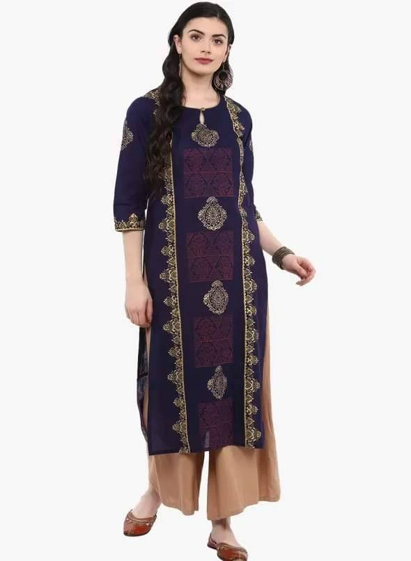 Navy Blue Colour Straight Make To Order Cotton Kurta