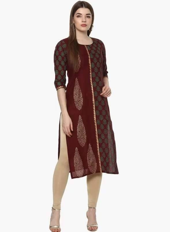Maroon Red Colour Cotton Straight Make To Order Kurta
