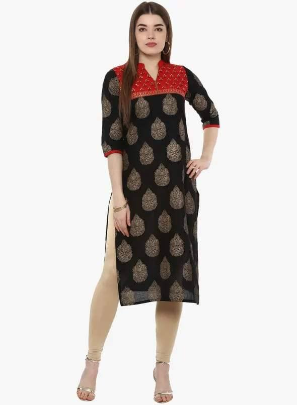 Black Colour Cotton Straight Make To Order Kurta