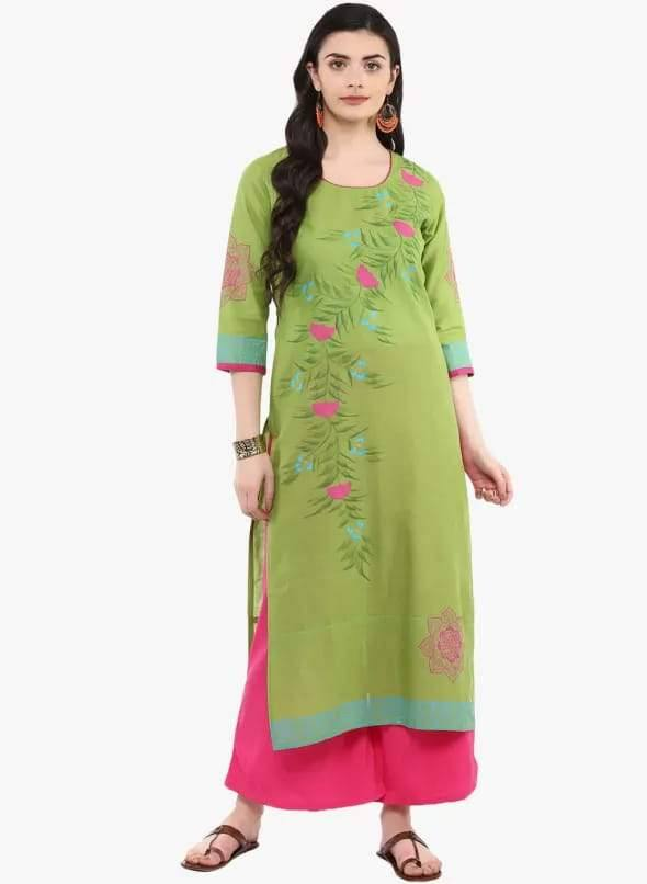 Green Colour Straight Make To Order Cotton Kurta