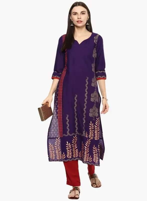 Dark Purple Colour Cotton Straight Make To Order Kurta
