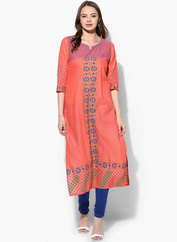 Peach Colour Cotton Straight Make To Order Kurta