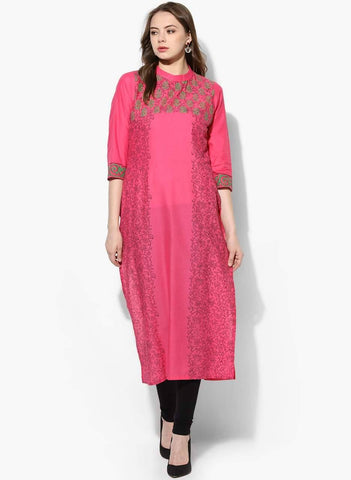 Pink Cotton Straight Make To Order Kurta
