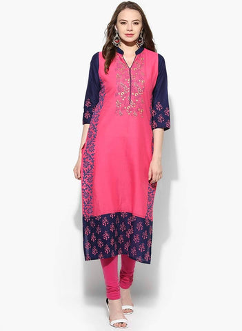 Pink &Purple Straight Make To Order Cotton Kurta