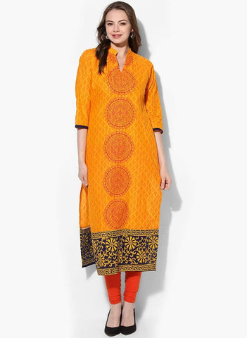 Yellow Colour Cotton Straight Make To Order Kurta